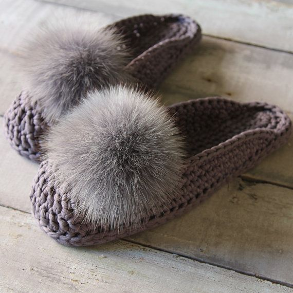 $89 Pom pon mules / woman slippers / trendy home / fur pom pom shoes / cotton slippers