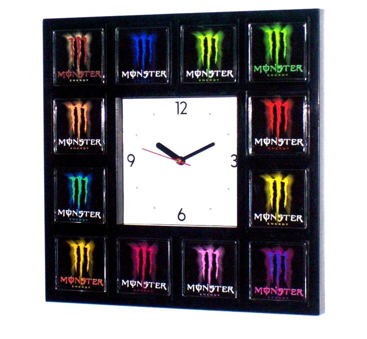 Monster Energy Drink Clock with 12 pictures