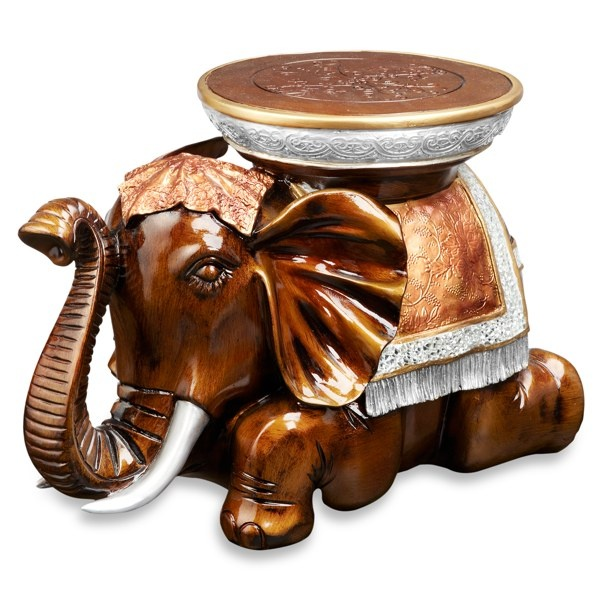 Warm Colors Of Antique Gold And Silver Blend For An Elephant Side Table  Thats A Pachyderm Partner In The Living Room Or Den. His Back Supports  Reading ...