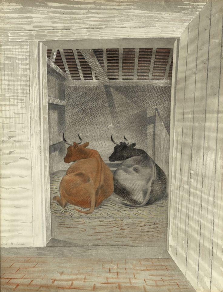 Two Cows, Eric Ravilious (peintre anglais)