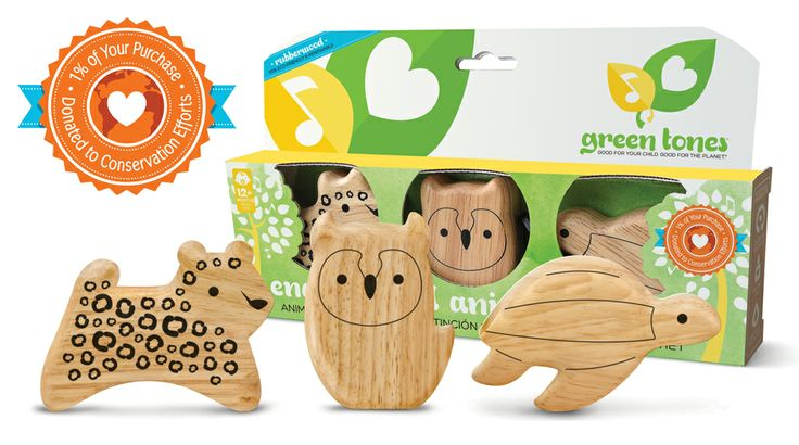 """This special collection of endangered land, air, and sea animal shakers from green tones® helps teach your child about environmental impact in a fun and engaging manner. Set includes ~4"""" Long-Eared Owl, Amur Leopard, and Leatherback Turtle as well as an extra info sheet to help teach about each animal and conservation efforts. Shakers constructed of eco-friendly Rubberwood with a finish made of 100% water-based non-toxic clear coat finish. #ecofriendly #sustainable #woodtoys #green"""