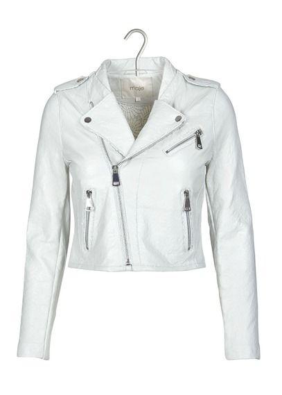 Veste en cuir blanche pour femme
