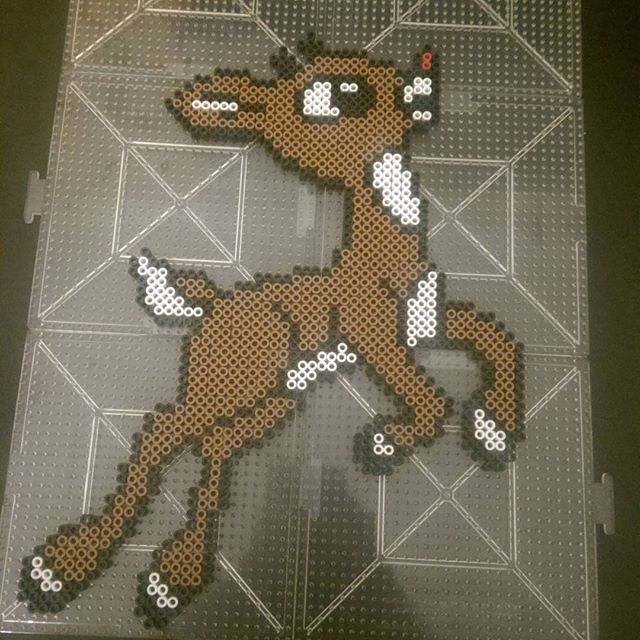 Rudolph The Red Nosed Reindeer - Christmas perler beads by ras_al_ghul_