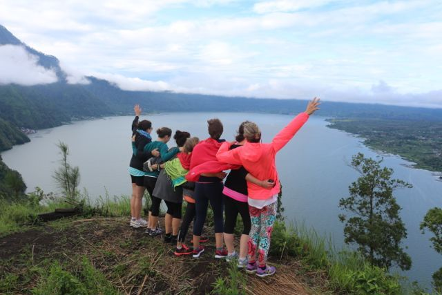 At the height of our trek overlooking Lake Batur Bali. Magic Morning on our Fusion Fitness Retreat.