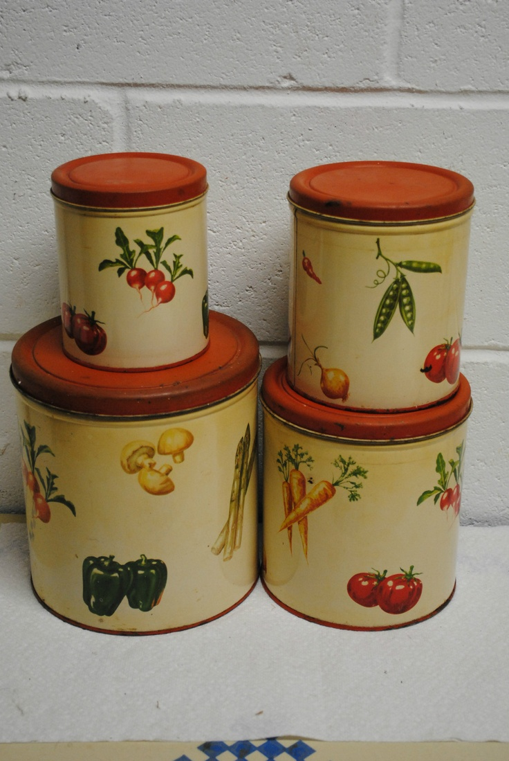 89 best canister sets images on pinterest vintage canisters vintage decoware kitchen canisters set of 4 vegetables ebay