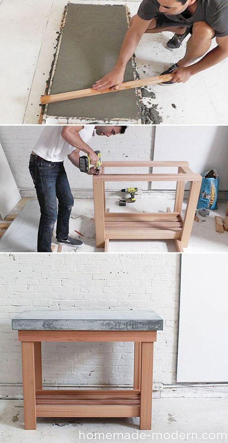 Foto: Betonnen bovenblad, voor keuken, tafel, etc. Meer info, tekening en volledige werkbeschrijving met video zie de site: Homemade Modern en zoek op: EP38 Wood + Concrete kitchen island. . Geplaatst door LadyE op Welke.nl