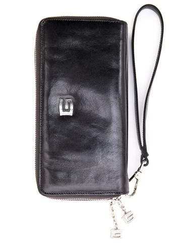 Italian black leather wristlet/wallet. 100% Made in Italy from vegetable dyed leather.