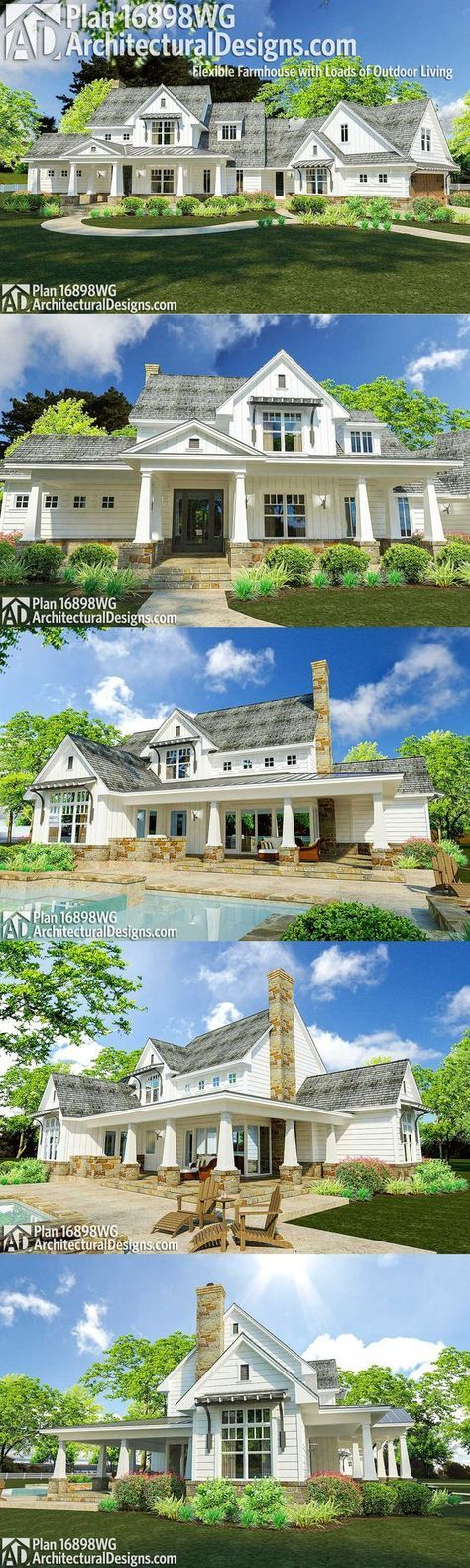 Architectural Designs Modern Farmhouse Plan 16898WG has an angled 2-car garage and porches front and back. Inside, you get over 2,300 square feet of heated living space and up to 4 beds.Ready when you are. Where do YOU want to build?