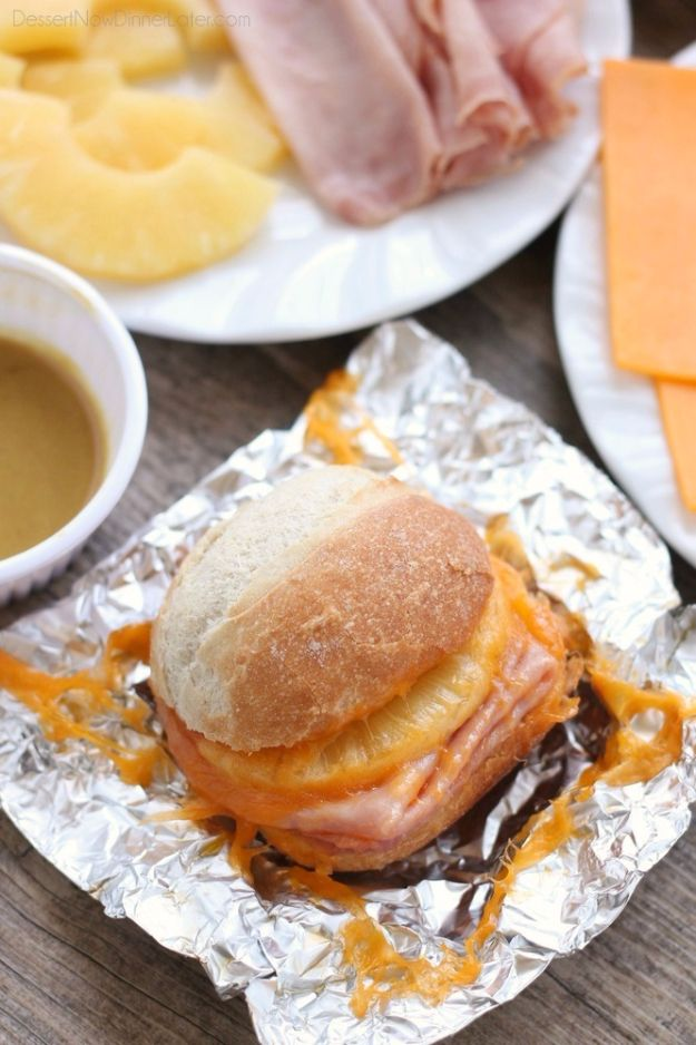 DIY Tin Foil Camping Recipes - Hot Ham and Pineapple Campfire Sandwiches - Tin Foil Dinners, Ideas for Camping Trips and On Grill. Hamburger, Chicken, Healthy, Fish, Steak , Easy Make Ahead Recipe Ideas for the Campfire. Breakfast, Lunch, Dinner and Desse