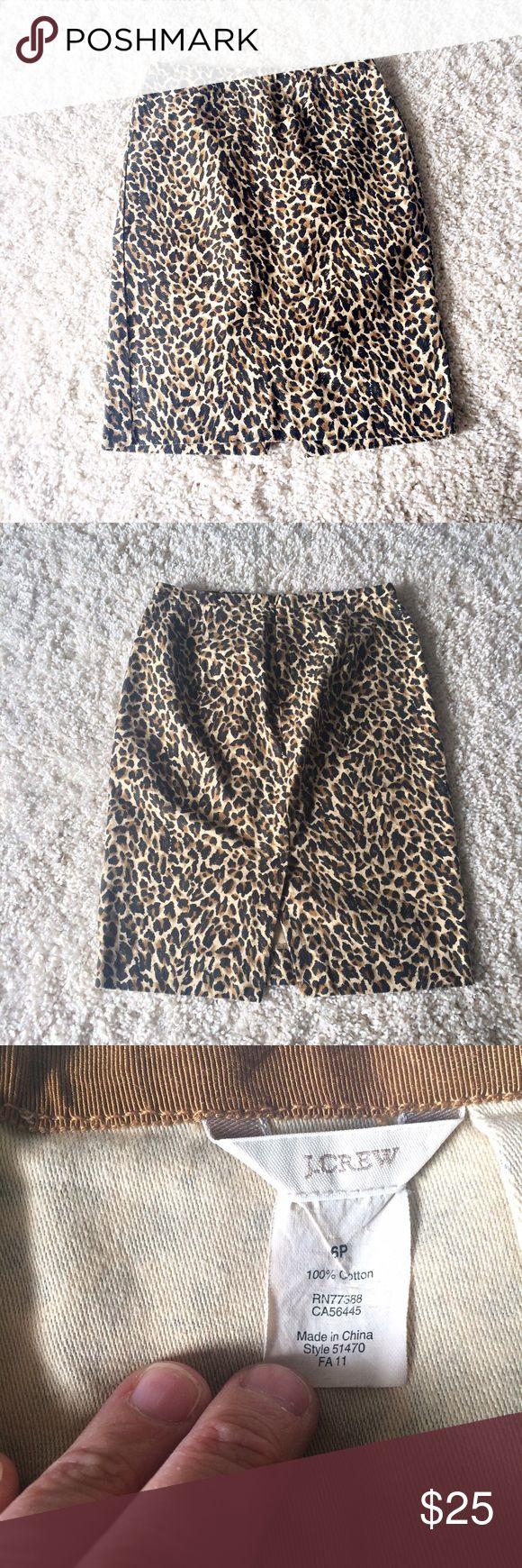 "J. CREW Leopard print Pencil Skirt petite Adorable pencil skirt in size 6 Petite. 100% cotton. Back zipper. Length 22.5"". Waist 14.5"". Leopard print. No damage, normal wash wear. J. Crew Skirts Pencil"