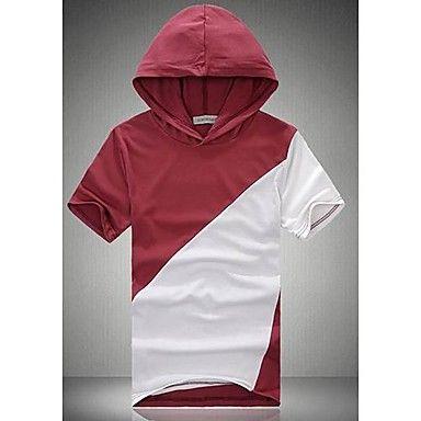 Mænds rund krave hættetrøje kortærmet t-shirt   – DKK kr. 140