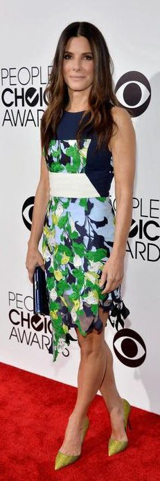 Sandra Bullock in a Peter Pilotto dress, Kurt Geiger pumps and a Jimmy Choo clutch