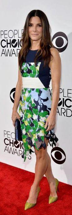 Sandra Bullock in a Peter Pilotto dress, Kurt Geiger pumps and a Jimmy Choo clutch
