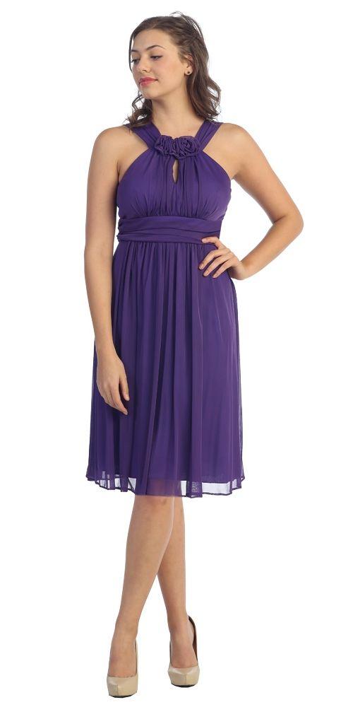 Rosette Round Neck Tea Length Halter Chiffon Purple Dress Keyhole $84.99