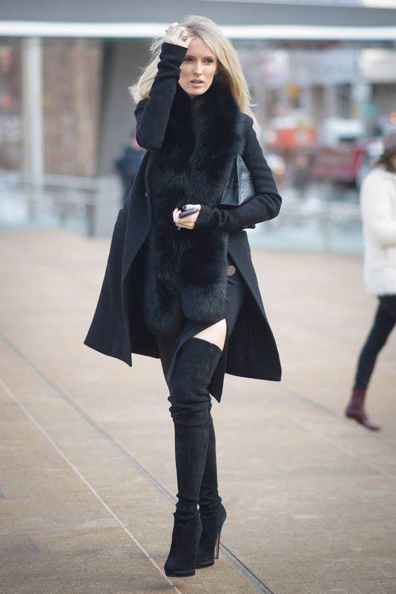 классические черные замшевые сапоги