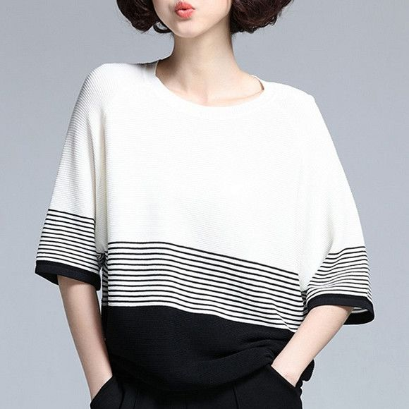 Black and white striped t shirt for women fahsion batwing sleeves tops