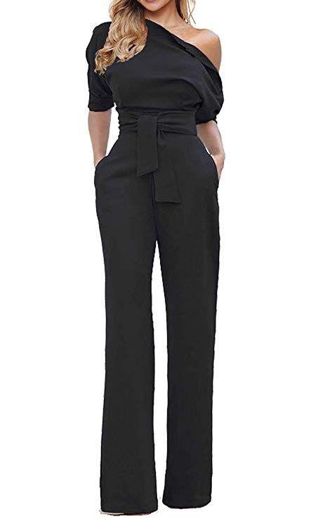 fc5d55429b0 Women s Wide Leg Slanted One Shoulder Belted Jumpsuits  mariskelately   fashion  lifestyleblogger  infuencer  style  glamour