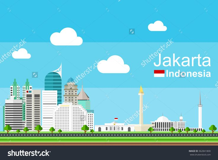 Simple Flat-Style Illustration Of Capital Of Indonesia, Jakarta, And Its Landmarks. Famous Buildings Included Such As Istana Negara, Monas, Istiqlal Mosque, Wisma 46, And The Peak Apartment. - 362841800 : Shutterstock