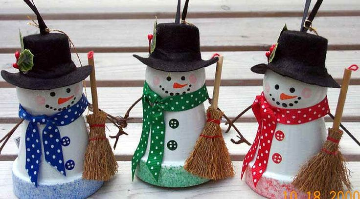 "Clay Pot Snowman. Use a 2"" flower pot, wooden bead head, felt top hat with holly sprig, broom, ribbon scarf, black satin ribbon hanger with a jingle bell attached, pulled through from inside for hanging. Coat entire ornament with a glittery top coat for a sparkly effect"
