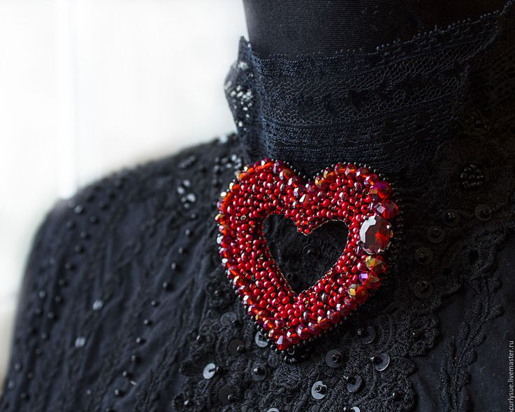 """Купить Брошь """" Сердце"""" вышивка бисером - ярко-красный, брошь, брошь из бисера"""