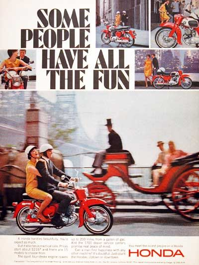 1966 Honda Motor Scooter vintage ad. Some people have all the fun. Original MSRP started at $215.
