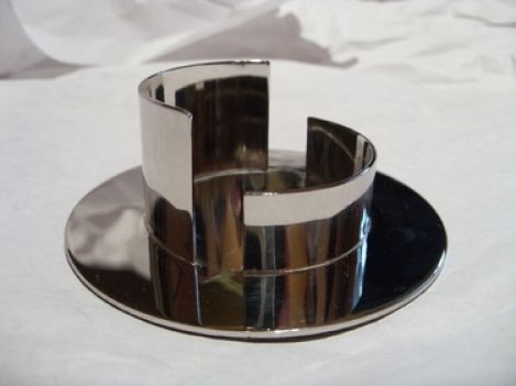 Kerzenständer silber poliert rund Kerzen 5 cm (1ZB)