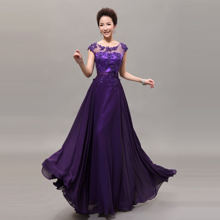 Evening Dress Long 2013 Design Bridal Purple Lace Plus