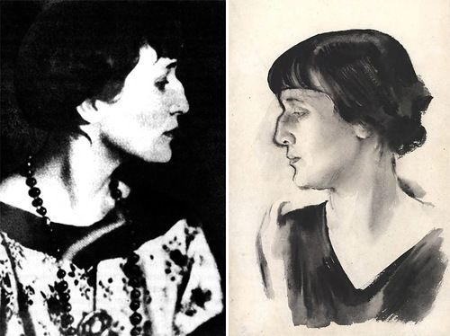 Left – photo, 1921. Right – portrait by N.A. Tyrs, 1928