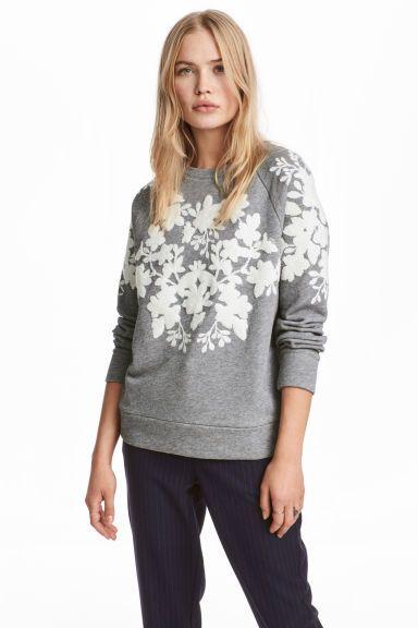 Bluza z aplikacjami - Szary melanż - ONA   H&M PL