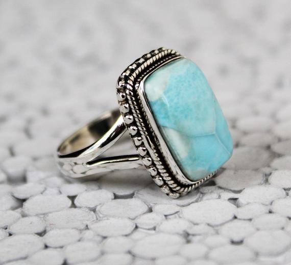 Silver Larimar Ring Silver Ring Larimar Cocktail Ring Turquoise Ring Large Larimar Ring Gemstone Ring