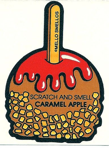 Vintage 80's Mello Smellos CARAMEL APPLE Scratch and Sniff Sticker
