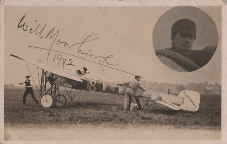 MOORHOUSE WILIAM: (1887-1915) English Aviator. Victoria Cross winner for his actions against railway installations at Courtrai, Belgium, and as such became the first airman to be awarded the Victoria Cross. Vintage signed postcard photograph of Moorhouse seated in his Bleriot Monoplane.  Signed in black fountain pen ink to the image and dated 1912 in his hand. A rare autograph due to Moorhouse's tragically early death at the age of 27 when he died as a result of wounds received in action.