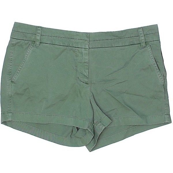 J. Crew Khaki Shorts ($18) ❤ liked on Polyvore featuring shorts, dark green, cotton shorts, dark green shorts, khaki shorts and j crew shorts