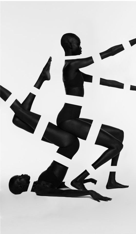 Shot by Paul Jung and styled by Jessica Willis, these images are part of a black-and-white editorial for Suited magazinefeaturing four South Sudanese models, Atong Arjok, Mari Malek, Mari Agory, and Nykhor Paul. While only two are depicted here, the conceptual quality of the photographs can be noted in the striking detail.