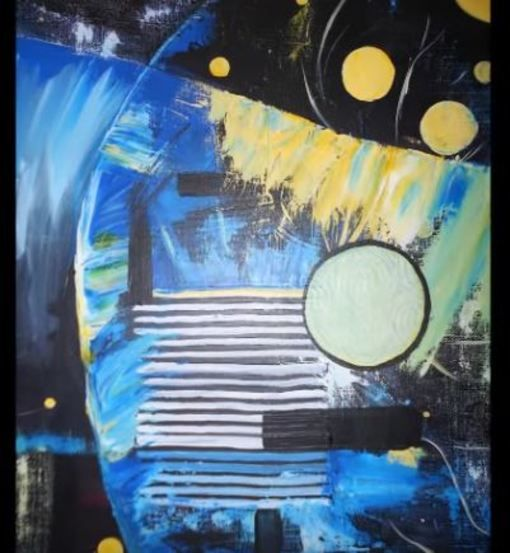 """Évolution dans un univers abstrait, alliant peinture et inclusion d'objet, dont la matière ou la forme interpelle. La peinture acrylique est un processus de """"construction/destruction/reconstruction"""" en appliquant plusieurs couches de peintures, plus ou..."""