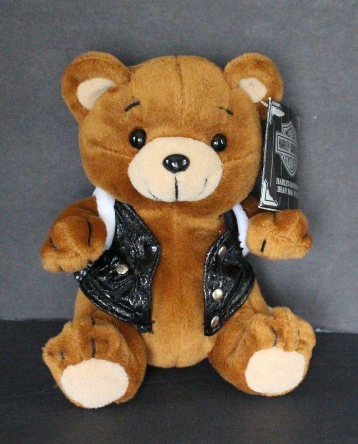Harley Davidson Bean Bag Bear Plush Toy Biker W Tag 1997