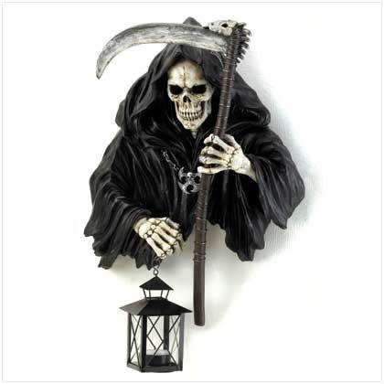 Grim Reaper Holding Candle Lantern Halloween Decor