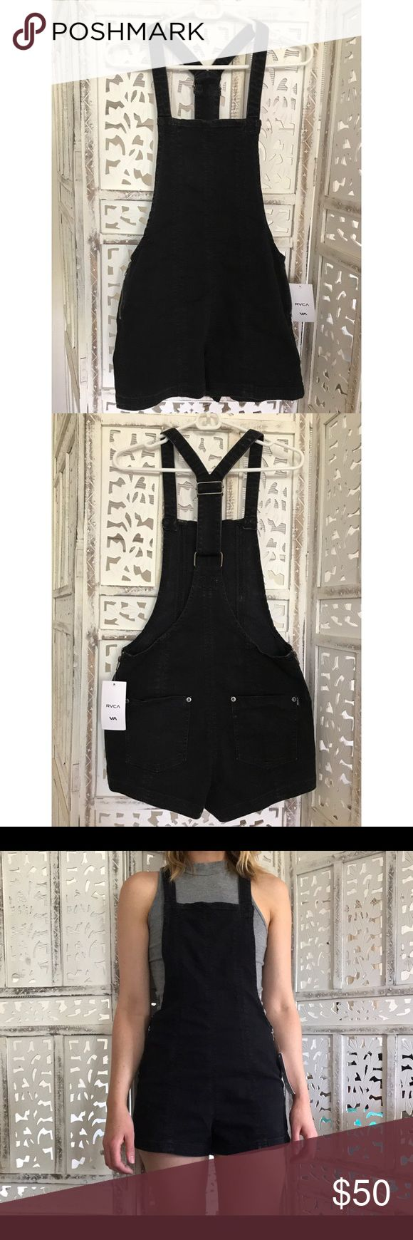 RVCA Hold It Jumper / Overalls Faded black jean jumper by RVCA! Never worn!! Zipper on both sides at the hip. Adjustable ring and slide hardware on center back. Two back patch pockets.              It can be a little tricky to get on and off without the typical overall clip in buttons but so so cute otherwise. RVCA Shorts Jean Shorts