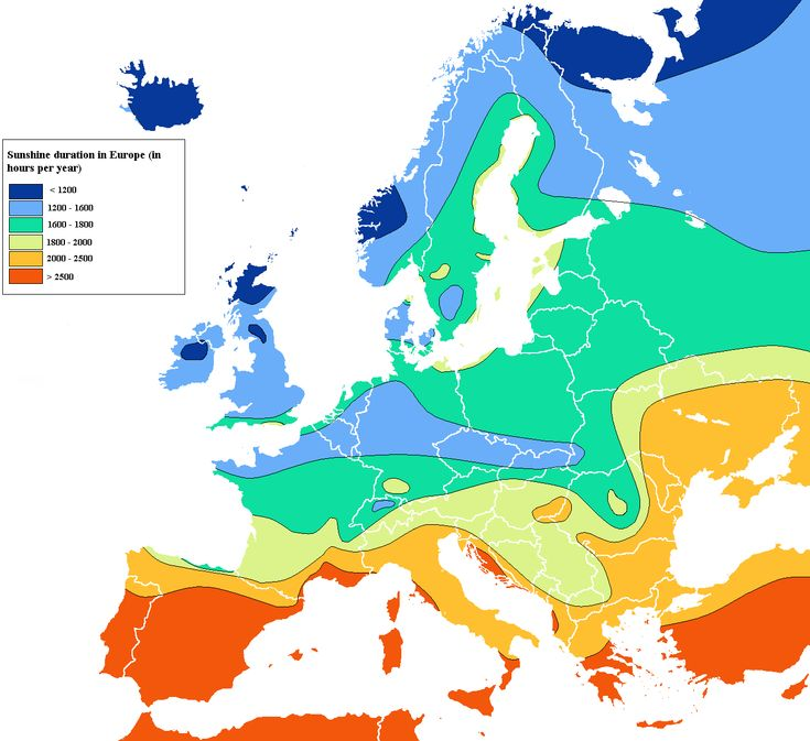 Distribution of sunshine in Europe per year