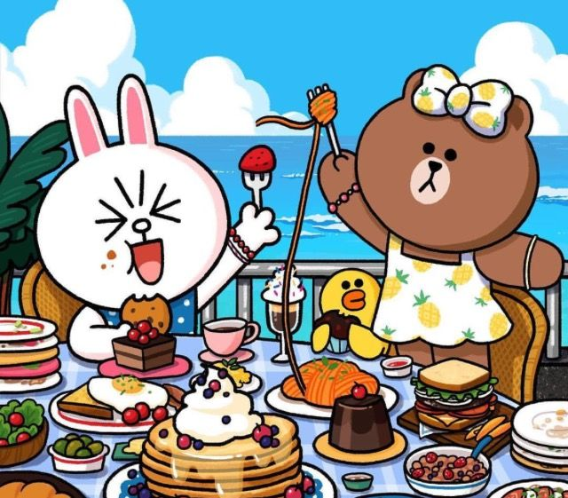 Eating day with Cony and Choco ^^