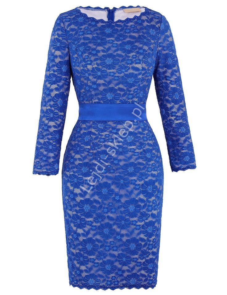 Chabrowa ołówkowa midisukienka z koronki | Koronkowa niebieska sukienka wizytowa