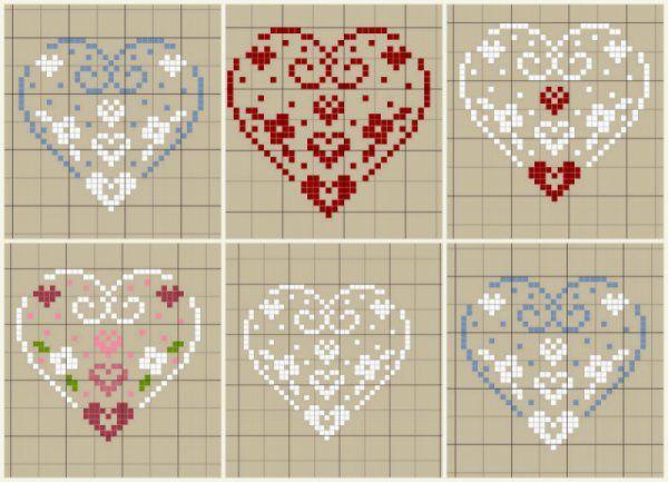 Petits cœurs en point de croix                                                                                                                                                      Plus