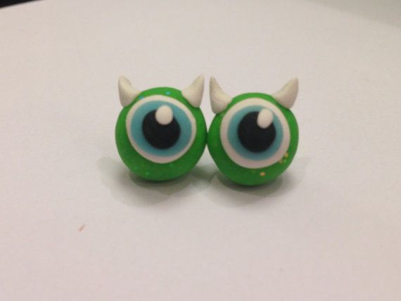 Monsters University Mike Stud Earrings, Movie Cartoon Character, Monsters Inc Main Character made of Sculpey clay