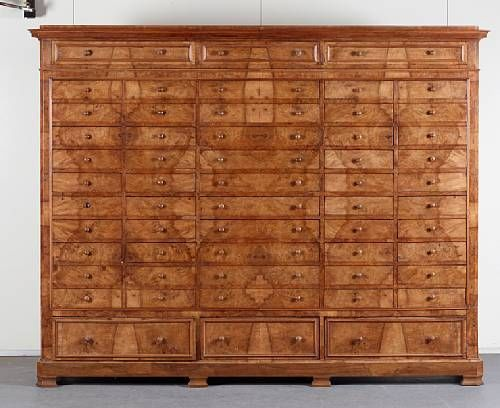A large French late 19th century walnut collectors cabinet, the… - Chests of Drawers - Furniture - Carter's Price Guide to Antiques and Collectables