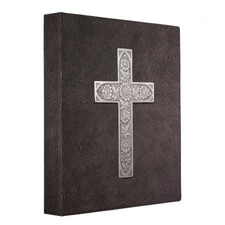 Metal Cross On Dark Leather 3 Ring Binder - click/tap to personalize and buy