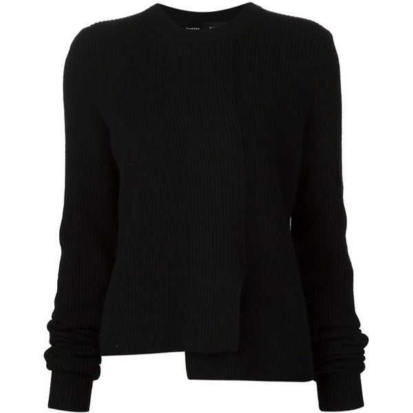 Proenza Schouler asymmetric sweater featuring polyvore, women's fashion, clothing, tops, sweaters, black, crewneck sweaters, crew top, long sleeve asymmetrical top, asymmetrical sweaters and long sleeve sweater