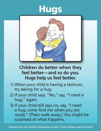 Hugs: A Positive Discipline Tool Card By Jane Nelsen, author and co-author of the Positive Discipline series