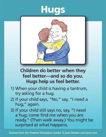 """I need a hug.""  Positive Discipline: Hugs: A Positive Discipline Tool Card"