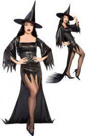 Noir costume de sorcière longueur de la jupe