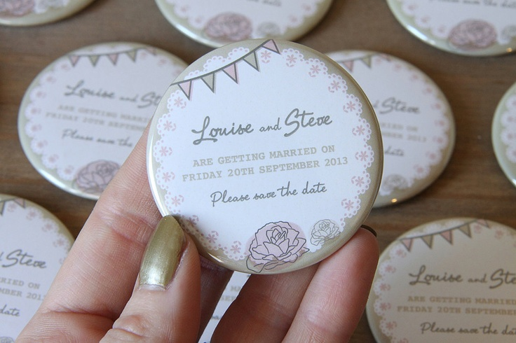 Save the Date Fridge Magnets - what a clever idea.  Gold with a vintage style bunting and rose design.  Set of 40 £54.00, via Etsy.